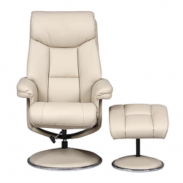 Biarritz Recliner Chair & Footstool Colour Plush Bone