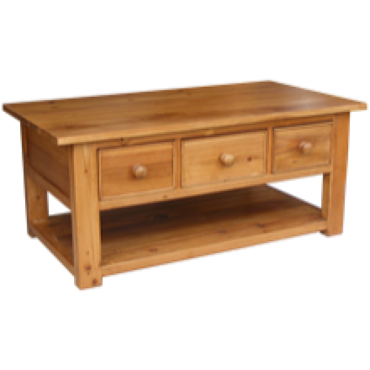 Rustic pine coffee table 3 drawer for Rustic coffee table with drawers